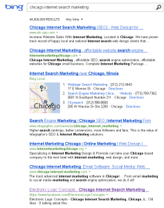 Bing Top 10: Chicago Internet Search Marketing