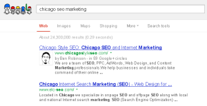 Google Results for the keywords:: Chicago SEO Marketing